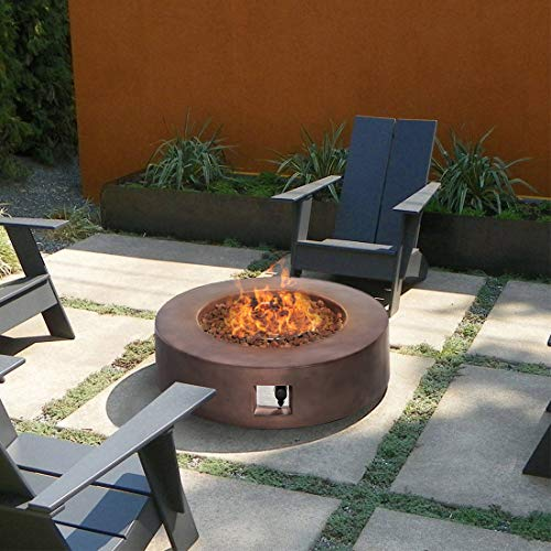 HOMPUS Propane Patio Fire Pit Table Lava Rocks and Rain Cover for Outdoor Leisure Party50000 BTU 42 inch Round Bronze Concrete Fire Table 0 0