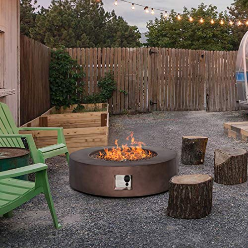 HOMPUS Propane Patio Fire Pit Table Lava Rocks and Rain Cover for Outdoor Leisure Party50000 BTU 42 inch Round Bronze Concrete Fire Table 0 1
