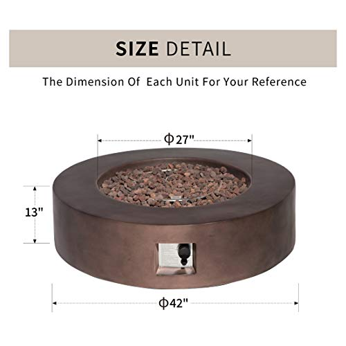 HOMPUS Propane Patio Fire Pit Table Lava Rocks and Rain Cover for Outdoor Leisure Party50000 BTU 42 inch Round Bronze Concrete Fire Table 0 2