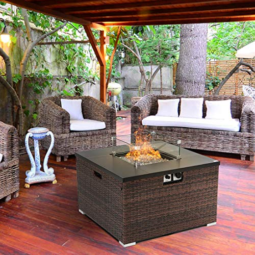 HOMPUS Propane Patio Fire Pit Table with Wind Guard Lava Rocks and Rain Cover for Outdoor Leisure Party40000 BTU 32 inch Square Dark Brown Wicker Fire Table 0 0