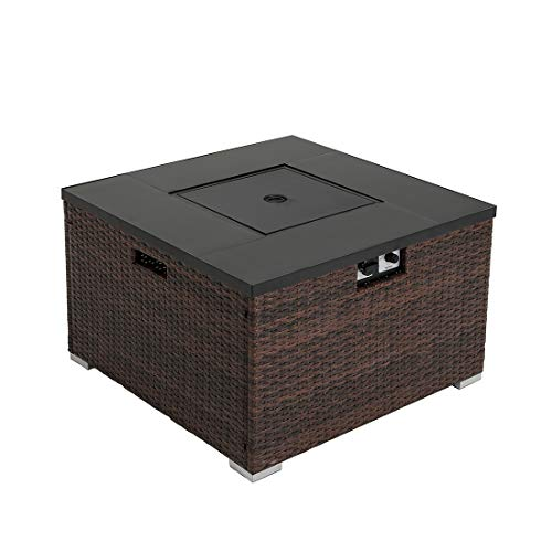 HOMPUS Propane Patio Fire Pit Table with Wind Guard Lava Rocks and Rain Cover for Outdoor Leisure Party40000 BTU 32 inch Square Dark Brown Wicker Fire Table 0 1