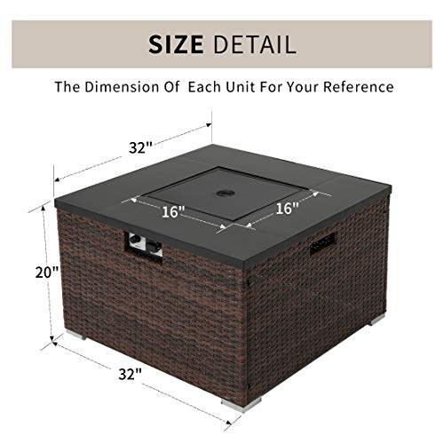 HOMPUS Propane Patio Fire Pit Table with Wind Guard Lava Rocks and Rain Cover for Outdoor Leisure Party40000 BTU 32 inch Square Dark Brown Wicker Fire Table 0 2