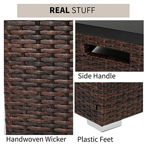 HOMPUS Propane Patio Fire Pit Table with Wind Guard Lava Rocks and Rain Cover for Outdoor Leisure Party40000 BTU 32 inch Square Dark Brown Wicker Fire Table 0 4