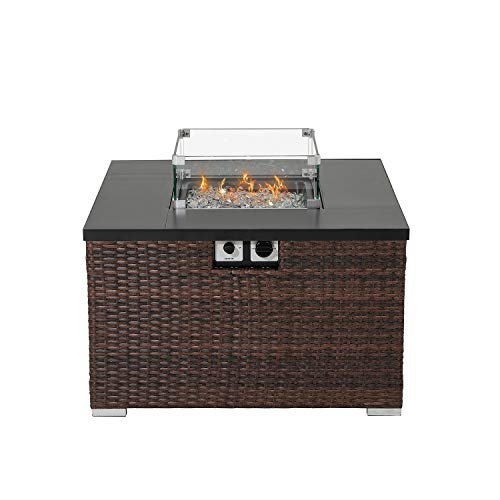 HOMPUS Propane Patio Fire Pit Table with Wind Guard Lava Rocks and Rain Cover for Outdoor Leisure Party40000 BTU 32 inch Square Dark Brown Wicker Fire Table 0