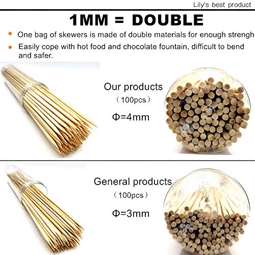 HOPELF 6 Natural Bamboo Skewers for BBQAppetiserFruitCocktailKabobChocolate FountainGrillingBarbecueKitchenCrafting and Party 4mm More Size Choices 81012141630100 PCS 0 1