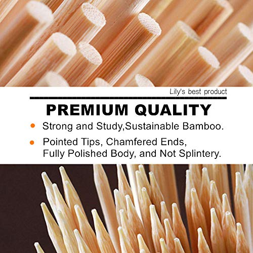 HOPELF 6 Natural Bamboo Skewers for BBQAppetiserFruitCocktailKabobChocolate FountainGrillingBarbecueKitchenCrafting and Party 4mm More Size Choices 81012141630100 PCS 0 2