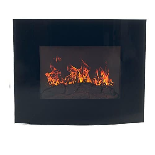 Home Northwest Black Curved Glass Electric Fireplace Wall Mount Remote 32 Midnight 0 0