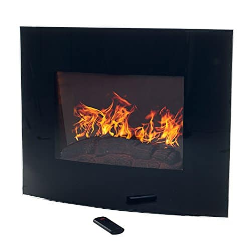 Home Northwest Black Curved Glass Electric Fireplace Wall Mount Remote 32 Midnight 0 1