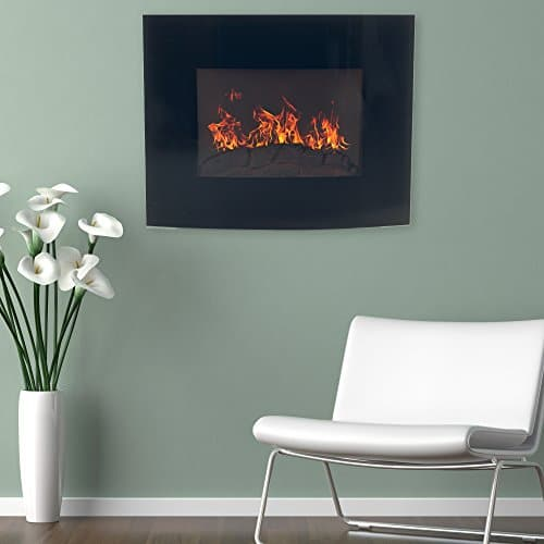 Home Northwest Black Curved Glass Electric Fireplace Wall Mount Remote 32 Midnight 0
