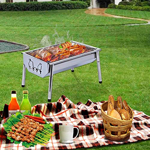 ISUMER Charcoal Grill Barbecue Portable BBQ Stainless Steel Folding BBQ Kabab Grill Camping Grill Tabletop Grill Hibachi Grill for Shish Kabob Portable Camping Cooking Small Grill 0 4