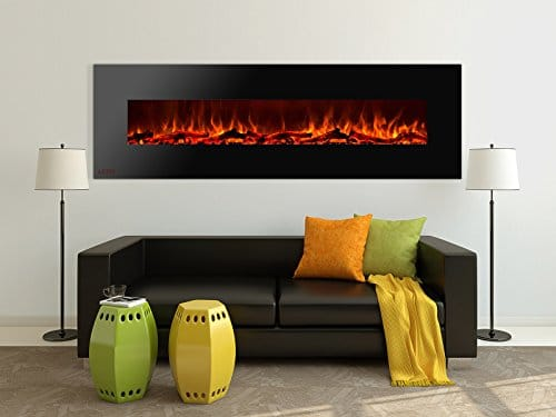 Ignis Royal 72 inch Wall Mount Electric Fireplace with Logs c SA us Certified Could be recessed with no Heat 0 0
