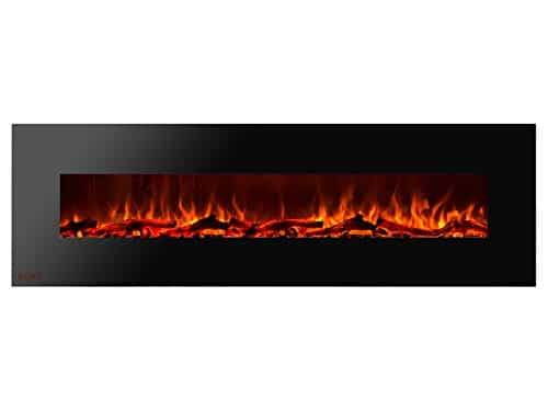 Ignis Royal 72 inch Wall Mount Electric Fireplace with Logs c SA us Certified Could be recessed with no Heat 0
