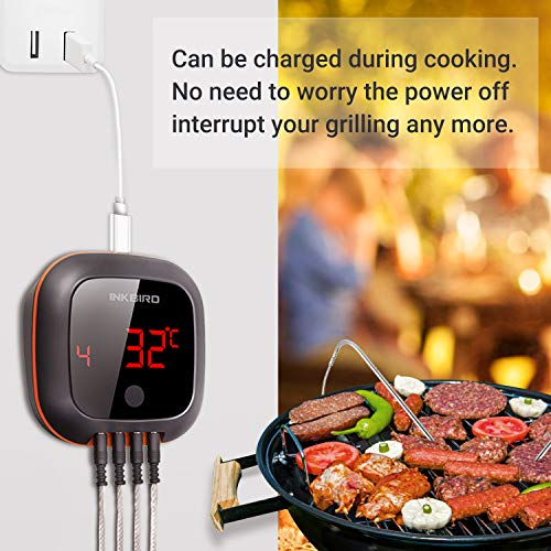 Inkbird IBT 4XS Bluetooth Wireless Grill BBQ Thermometer for Grilling with 4 Probes Rechargeable Battery Timer Alarm150 ft Barbecue Cooking Kitchen Food Meat Thermometer for Smoker Oven Drum 0 4