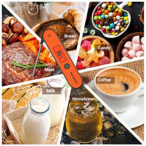 Inkbird Waterproof Instant Read Thermometer IHT 1P Rechargeable Battery Digital BBQ Meat Thermometer Cooking Food Thermometer Calibration Magnet Backlight for GrillSmoker Kitchen Oven Candy 0 5