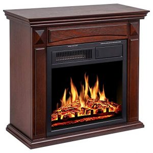 JAMFLY 26 Mantel Electric Fireplace Heater Small Freestanding Infrared Quartz Fireplace Stove Heater wLog Hearth Wood Surround Firebox Adjustable Led Flame Remote Control750W 1500W Brown 0