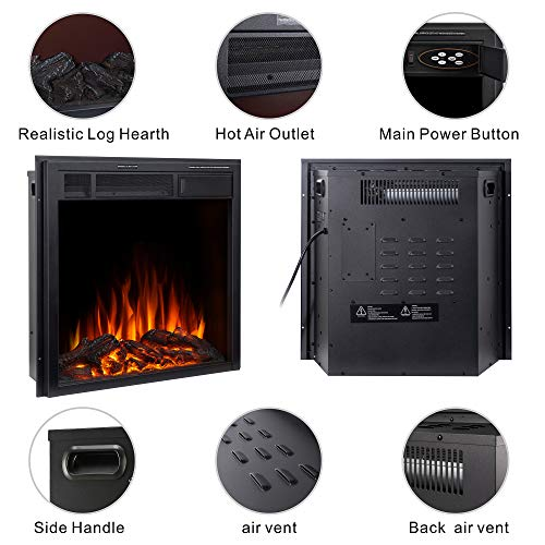 JAMFLY Electric Fireplace Insert 225 Freestanding Heater with 7 Log Hearth Flame Settings and Remote Control1500wBlack 0 1