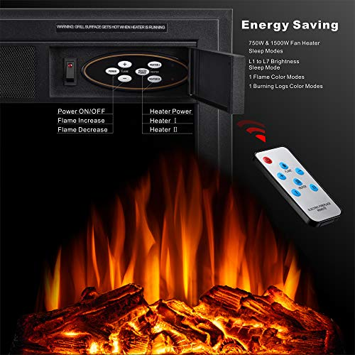 JAMFLY Electric Fireplace Insert 225 Freestanding Heater with 7 Log Hearth Flame Settings and Remote Control1500wBlack 0 2