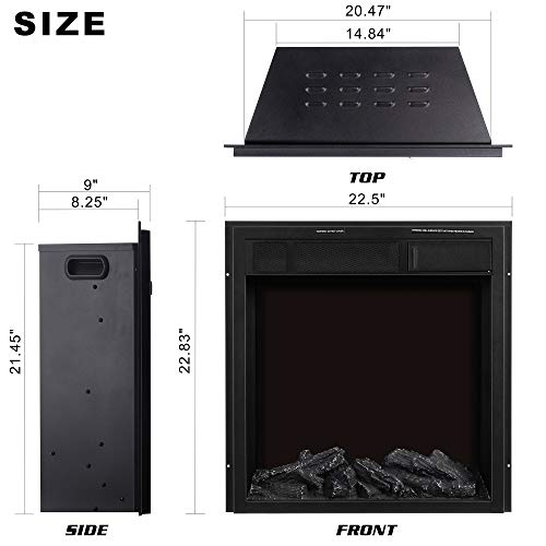 JAMFLY Electric Fireplace Insert 225 Freestanding Heater with 7 Log Hearth Flame Settings and Remote Control1500wBlack 0 3