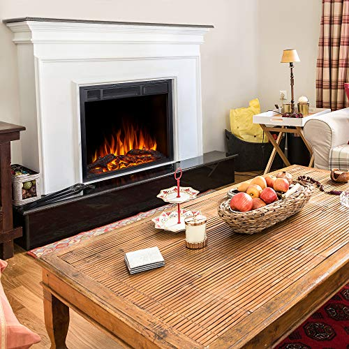 JAMFLY Electric Fireplace Insert 225 Freestanding Heater with 7 Log Hearth Flame Settings and Remote Control1500wBlack 0 4