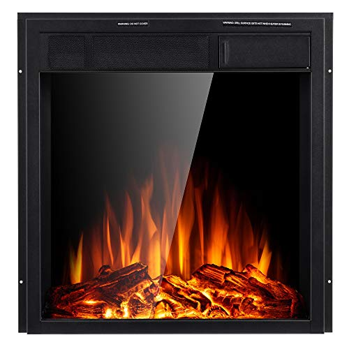 JAMFLY Electric Fireplace Insert 225 Freestanding Heater with 7 Log Hearth Flame Settings and Remote Control1500wBlack 0