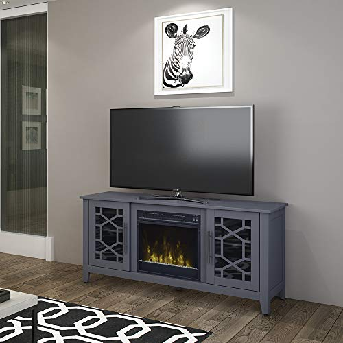 Jasmine Electric Fireplace Media Console in Cool Gray 0 2