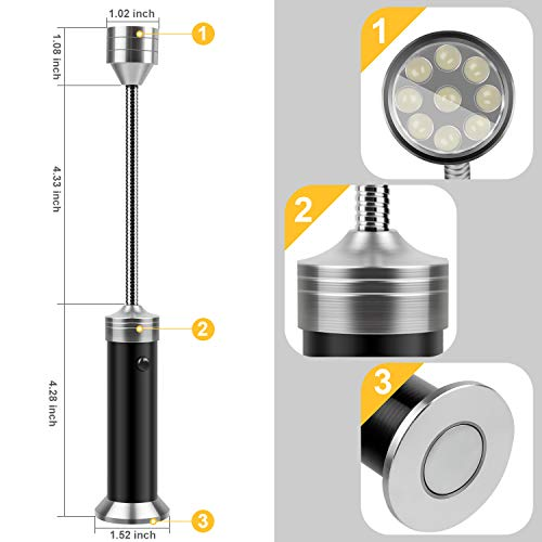 KOSIN Barbecue Grill Light Magnetic Base Super Bright LED BBQ Lights 360 Degree Flexible Gooseneck Weather Resistant Batteries Included Pack of 2 0 2