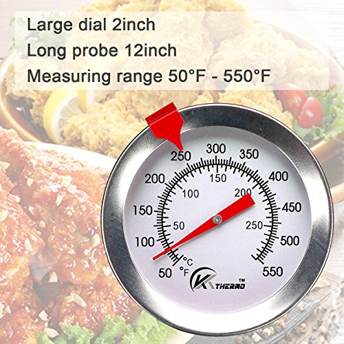 KT THERMO Deep Fry Thermometer With Instant ReadDial Thermometer12 Stainless Steel Stem Meat Cooking ThermometerBest for TurkeyBBQGrill 0 0