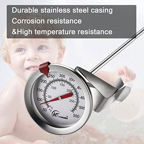 KT THERMO Deep Fry Thermometer With Instant ReadDial Thermometer12 Stainless Steel Stem Meat Cooking ThermometerBest for TurkeyBBQGrill 0 1