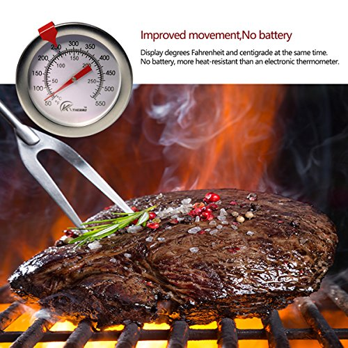 KT THERMO Deep Fry Thermometer With Instant ReadDial Thermometer12 Stainless Steel Stem Meat Cooking ThermometerBest for TurkeyBBQGrill 0 2