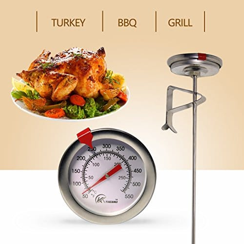 KT THERMO Deep Fry Thermometer With Instant ReadDial Thermometer12 Stainless Steel Stem Meat Cooking ThermometerBest for TurkeyBBQGrill 0 3