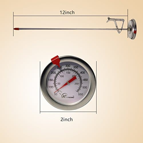 KT THERMO Deep Fry Thermometer With Instant ReadDial Thermometer12 Stainless Steel Stem Meat Cooking ThermometerBest for TurkeyBBQGrill 0 4