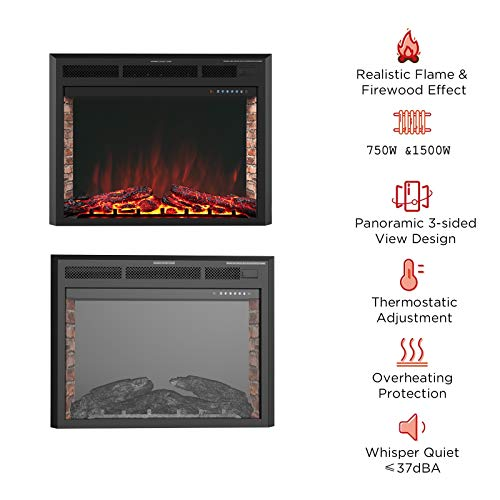 KUPPET 33 Electric Fireplace Insert Freestanding Recessed Electric Stove Heater with Remote Control Over Heating ProtectionBlack Basic Model 0 0