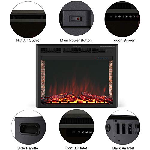 KUPPET 33 Electric Fireplace Insert Freestanding Recessed Electric Stove Heater with Remote Control Over Heating ProtectionBlack Basic Model 0 1