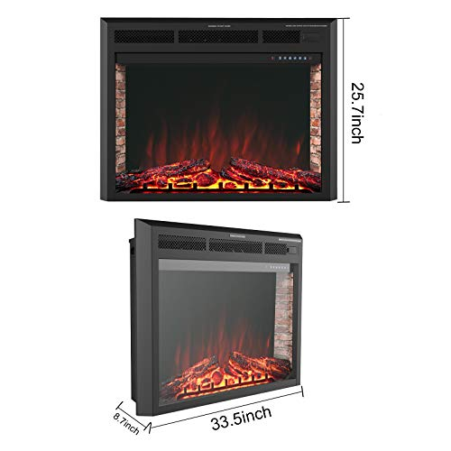 KUPPET 33 Electric Fireplace Insert Freestanding Recessed Electric Stove Heater with Remote Control Over Heating ProtectionBlack Basic Model 0 2