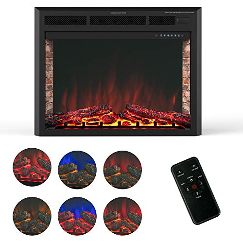 KUPPET 33 Electric Fireplace Insert Freestanding Recessed Electric Stove Heater with Remote Control Over Heating ProtectionBlack Basic Model 0