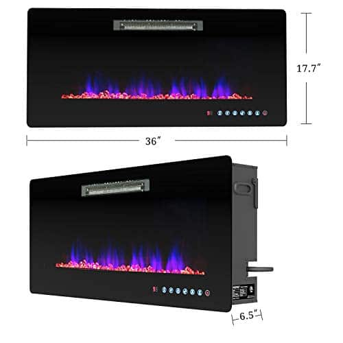 KUPPET Electric Fireplace Wall Freestanding Mounted Recessed Electric Fireplace Insert LED Fireplace Heater Remote Control with Timer Touch Screen Adjustable Flame Colors and Speed 36Inches 0 5