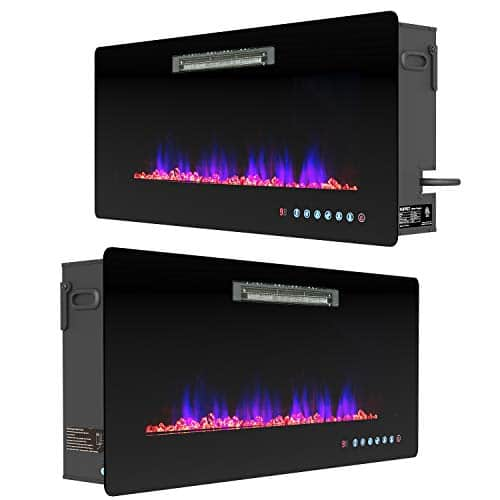 KUPPET Wall Freestanding Mounted Recessed Electric Fireplace Insert LED Fireplace Heater Remote Control with Timer Touch Screen Adjustable Flame Colors and Speed 750W1500W 36inch 0 1