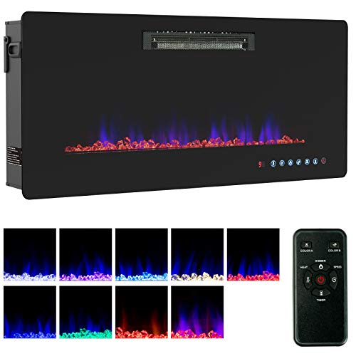 KUPPET Wall Freestanding Mounted Recessed Electric Fireplace Insert LED Fireplace Heater Remote Control with Timer Touch Screen Adjustable Flame Colors and Speed 750W1500W 36inch 0