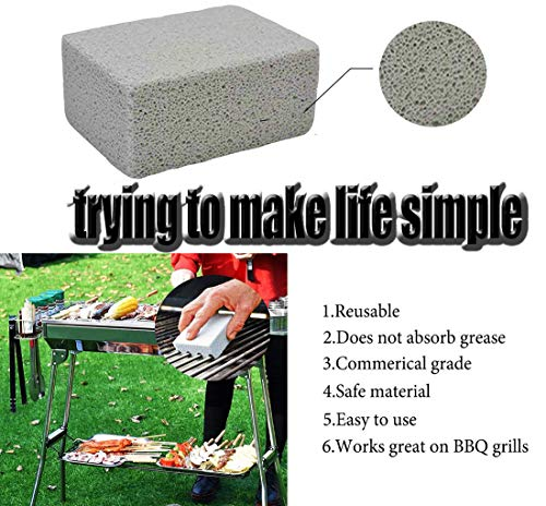 Kelfuoya Elaziy Grill Griddle Cleaning Brick BlockEcological Grill Cleaning Brick De Scaling Cleaning Stone for Removing Stains BBQ Cleaning4 Pack 0 1