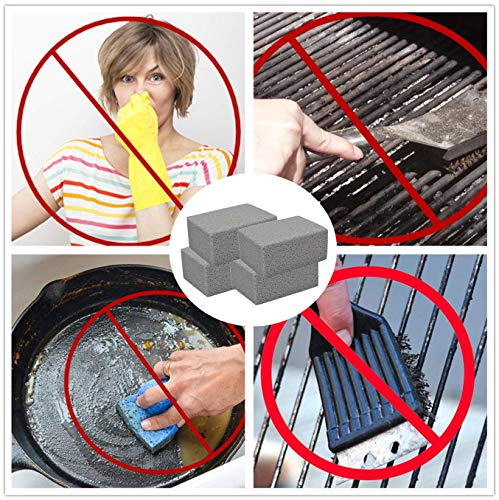 Kelfuoya Elaziy Grill Griddle Cleaning Brick BlockEcological Grill Cleaning Brick De Scaling Cleaning Stone for Removing Stains BBQ Cleaning4 Pack 0 2