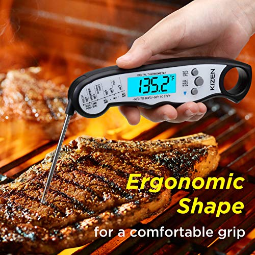 Kizen Instant Read Meat Thermometer Best Waterproof Ultra Fast Thermometer with Backlight Calibration Kizen Digital Food Thermometer for Kitchen Outdoor Cooking BBQ and Grill 0 2