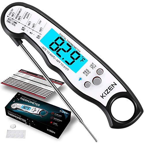 Kizen Instant Read Meat Thermometer Best Waterproof Ultra Fast Thermometer with Backlight Calibration Kizen Digital Food Thermometer for Kitchen Outdoor Cooking BBQ and Grill 0