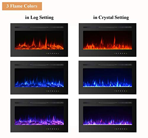 Kullavik 36 Recessed Electric Fireplace Remote Control with TimerTouch Screen Heater Log Crystal Hearth OptionsWall MountedInsert Adjustable Flame Color Speed7501500W Black 0 1