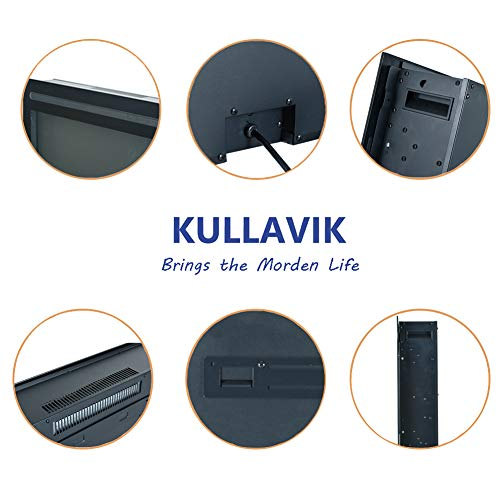 Kullavik 36 Recessed Electric Fireplace Remote Control with TimerTouch Screen Heater Log Crystal Hearth OptionsWall MountedInsert Adjustable Flame Color Speed7501500W Black 0 4