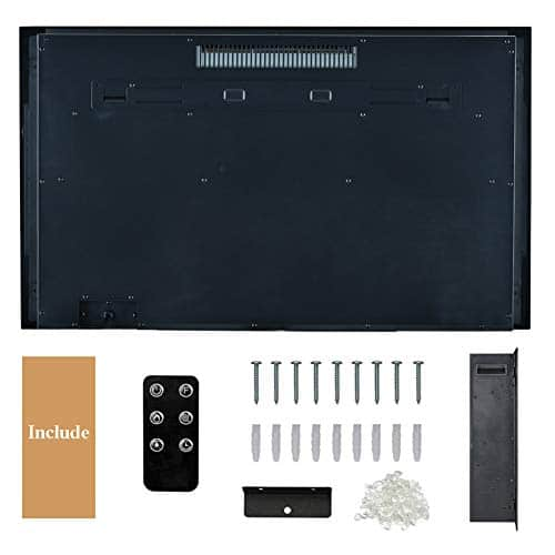 Kullavik 36 Recessed Electric Fireplace Remote Control with TimerTouch Screen Heater Log Crystal Hearth OptionsWall MountedInsert Adjustable Flame Color Speed7501500W Black 0 5