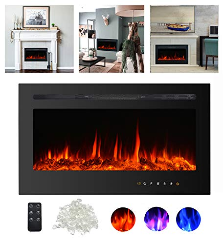 Kullavik 36 Recessed Electric Fireplace Remote Control with TimerTouch Screen Heater Log Crystal Hearth OptionsWall MountedInsert Adjustable Flame Color Speed7501500W Black 0