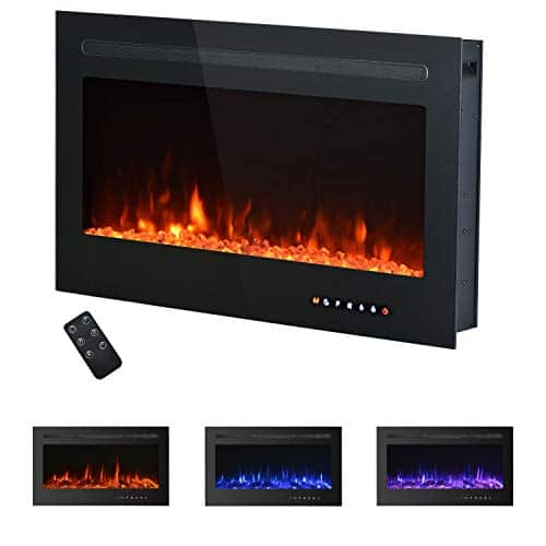 Kullavik 36 Recessed Electric Fireplace with Remote Control TimerTouch Screen Log CrystalEnergy Saving Indoor Wall Insert Adjustable Flame Color Speed7501500W Black 0