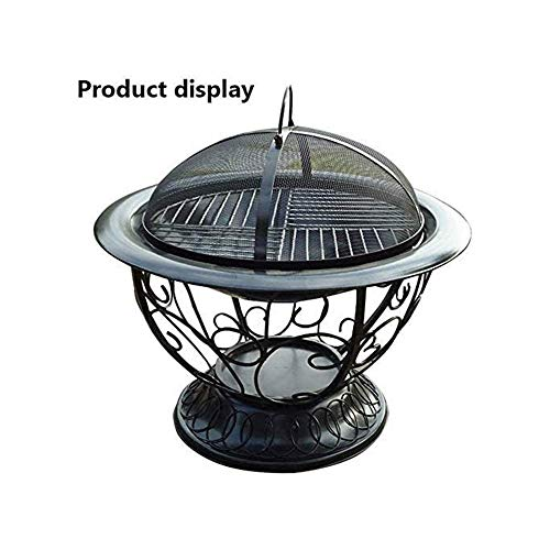 LBSX Cauldron Outdoor Fire Pit Deep Bonfire Wood Burning Patio Backyard Firepit for Outside with Round Spark Screen Fireplace Poker and Metal Grate 0 1