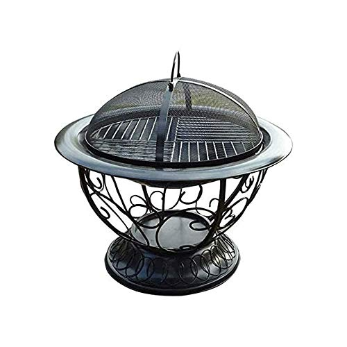 LBSX Cauldron Outdoor Fire Pit Deep Bonfire Wood Burning Patio Backyard Firepit for Outside with Round Spark Screen Fireplace Poker and Metal Grate 0