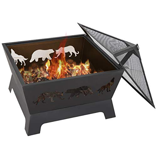LEMY 26 Inch Outdoor Metal Stove Fire Pit Backyard Patio Capming Wood Burning Fireplace Geometric Shaped Steel Fire Pit wExtra Deep PitCover 0 1